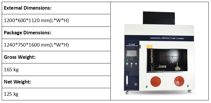 Horizontal and Vertical Flammability Tester