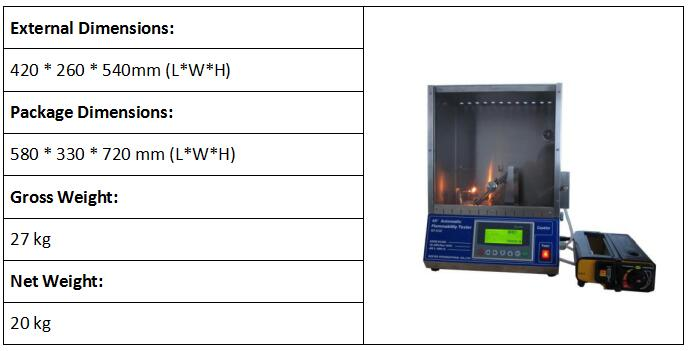 45 Degree Automatic Flammability Tester
